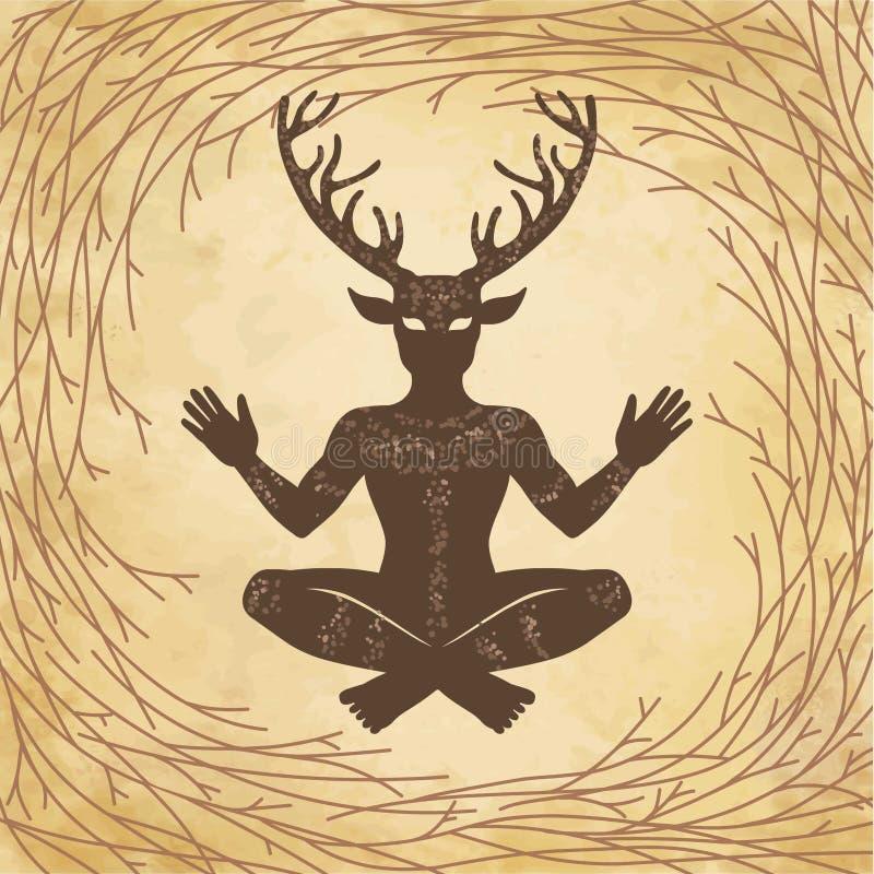 Schattenbild des gehörnten Gottes Cernunnos des Sitzens Mystizismus, geheim, Heidentum, Okkultismus lizenzfreie abbildung