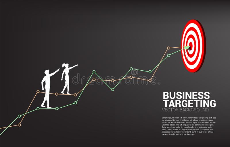 Schattenbild des Geschäftsmann- und Geschäftsfraupunktes zur Dartscheibe auf Linie Diagramm, zum von der Dartscheibe zu zentriere lizenzfreie abbildung