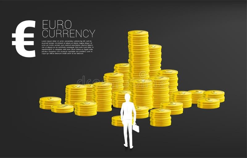 Schattenbild des Geschäftsmannes mit der Aktenkofferstellung vor Eurogeldikone und Stapel der Münze vektor abbildung