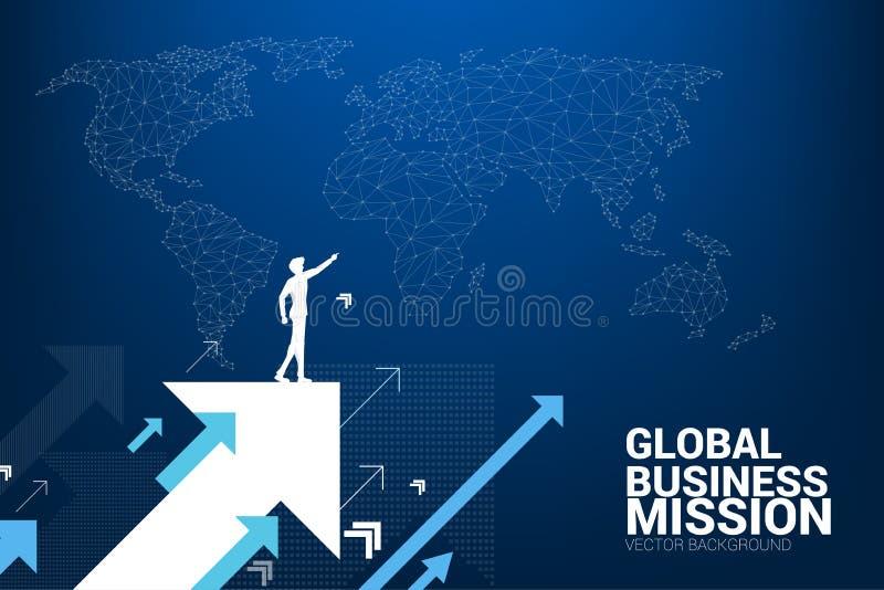 Schattenbild des Geschäftsmannpunktes vorwärts auf Pfeil mit Weltkartehintergrund hochschieben lizenzfreie abbildung