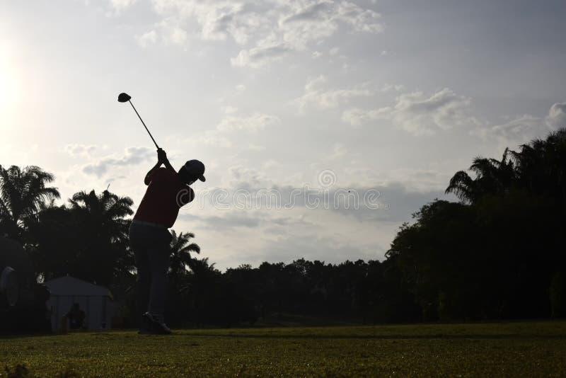 Schattenbild des Golfspielers lizenzfreie stockbilder
