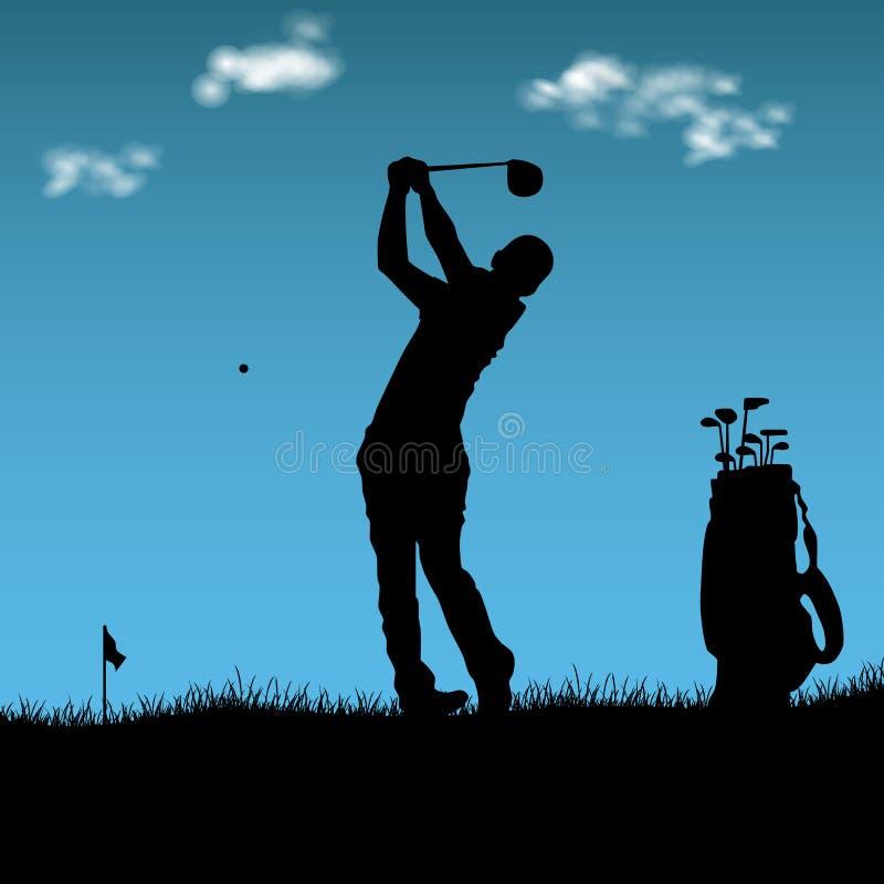 Schattenbild des Golfspielers mit Tasche auf Spielplatz lizenzfreie abbildung
