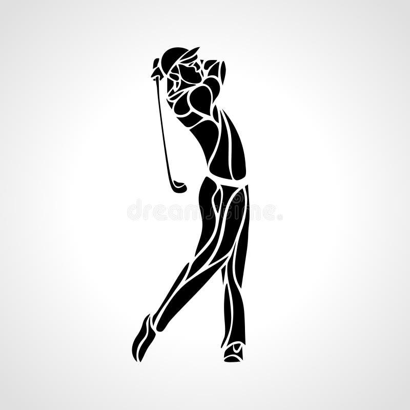 Schattenbild des Golfspielers Vektor EPS8 lizenzfreie abbildung