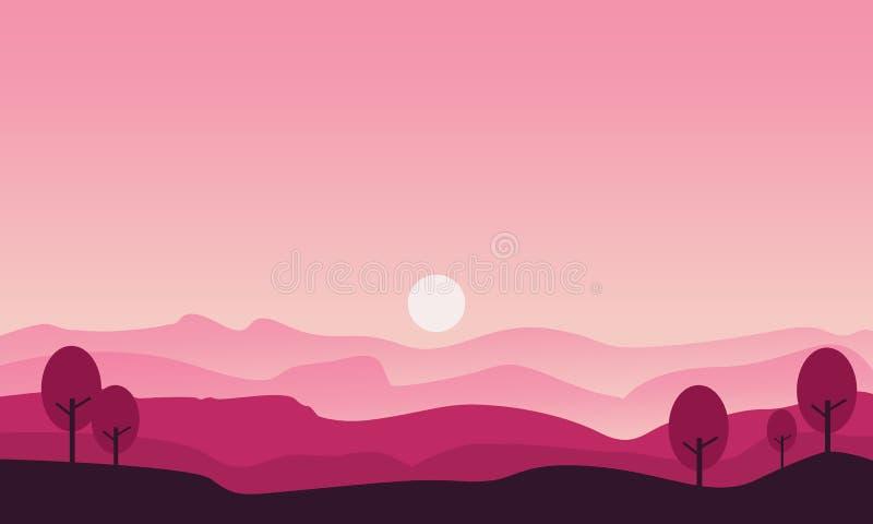 Schattenbild des Hügels und der Baumlandschaft stock abbildung