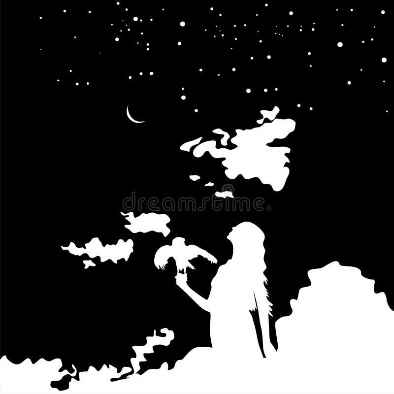 Schattenbild des jungen Mädchens mit einem Vogel auf Hintergrundsonnenuntergang und sternenklarem Himmel lizenzfreie abbildung