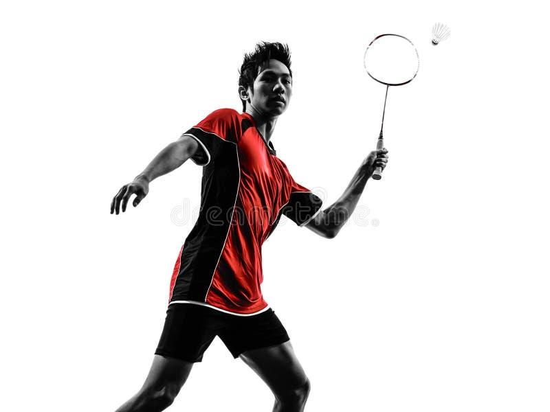 Schattenbild des jungen Mannes des Badmintonspielers stockfoto