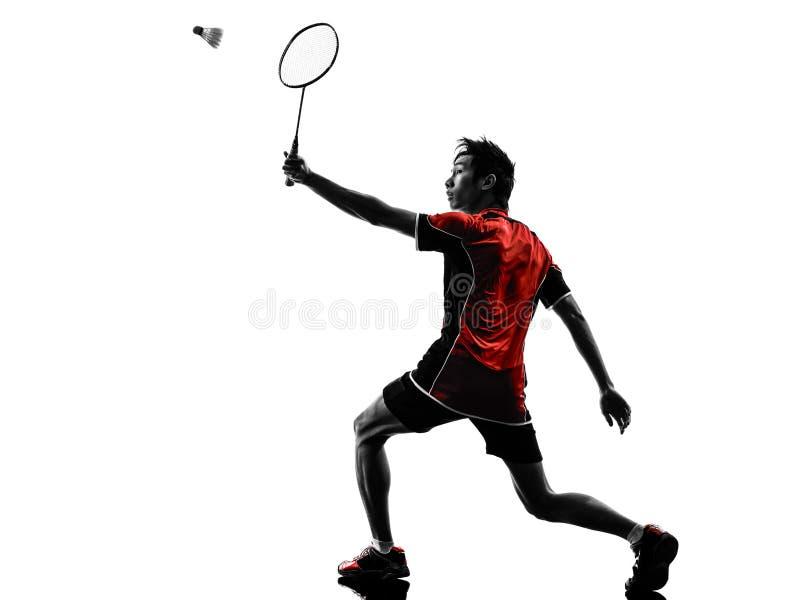 Schattenbild des jungen Mannes des Badmintonspielers lizenzfreies stockbild