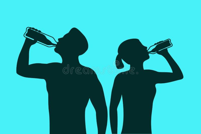 Schattenbild des Körpermannes und des Trinkwassers der Frau Illustration über gesunden Lebensstil stock abbildung