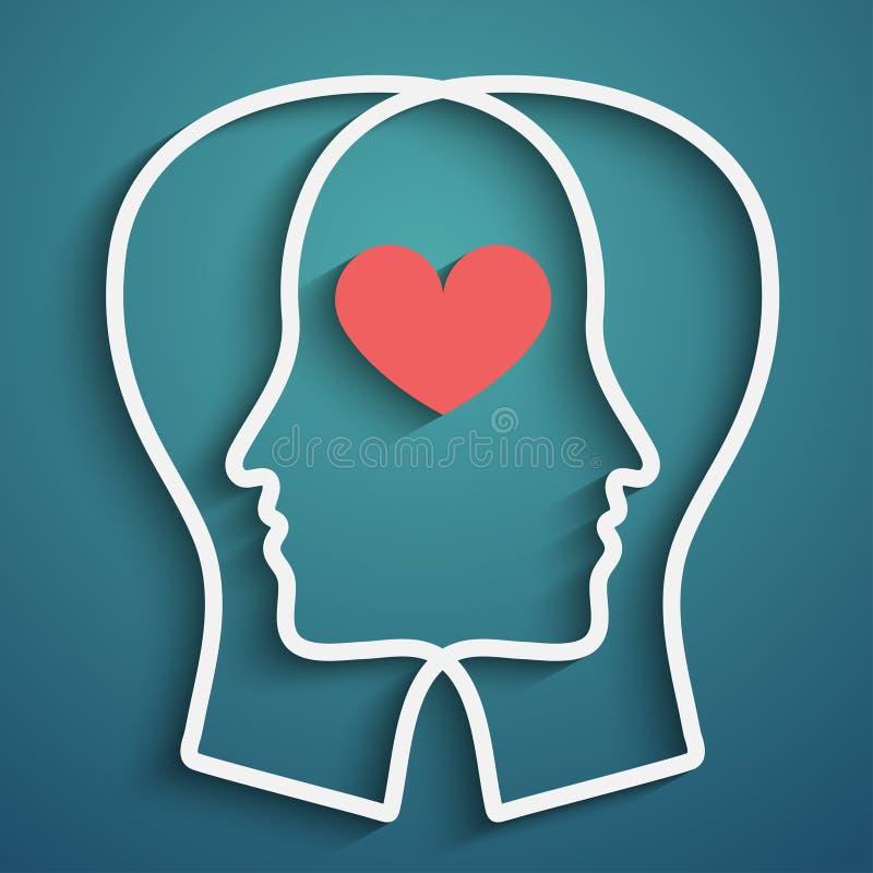 Schattenbild des Kopfes mit Herzsymbol lizenzfreie abbildung