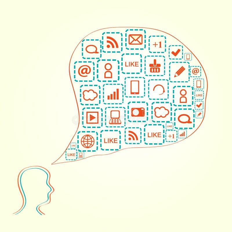 Schattenbild des Kopfes mit Media-Ikonen in der Luftblase lizenzfreie abbildung