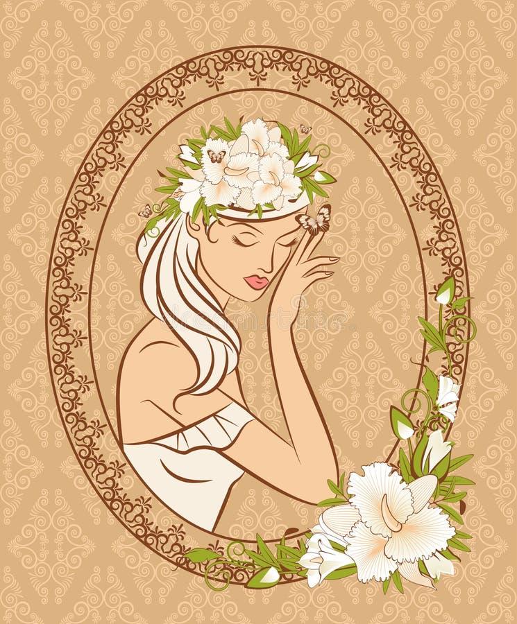 Schattenbild des Mädchens mit Blumen lizenzfreie abbildung