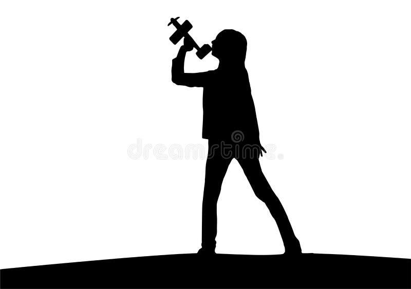 Schattenbild des Mädchens mit Flugzeugspielzeug lizenzfreies stockfoto