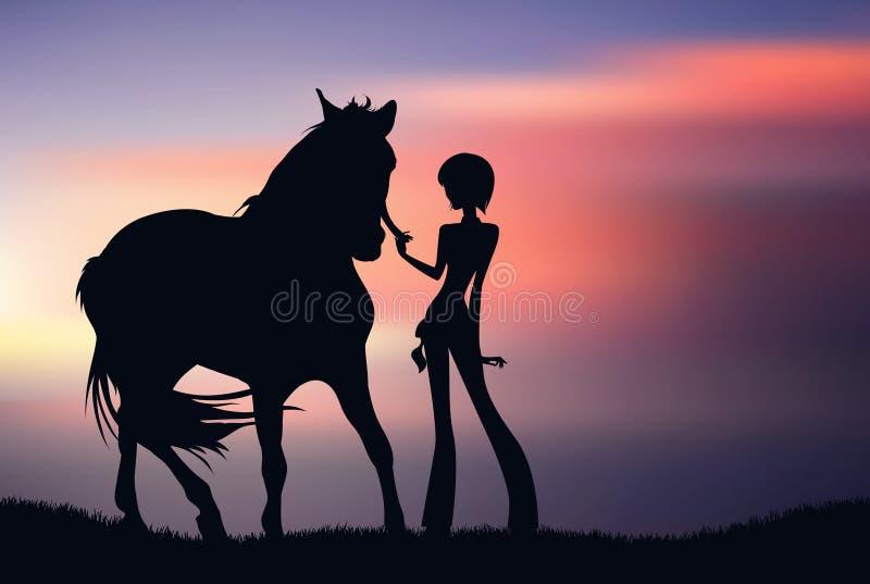 Schattenbild des Mädchens mit Pferd bei dem Sonnenuntergang stock abbildung