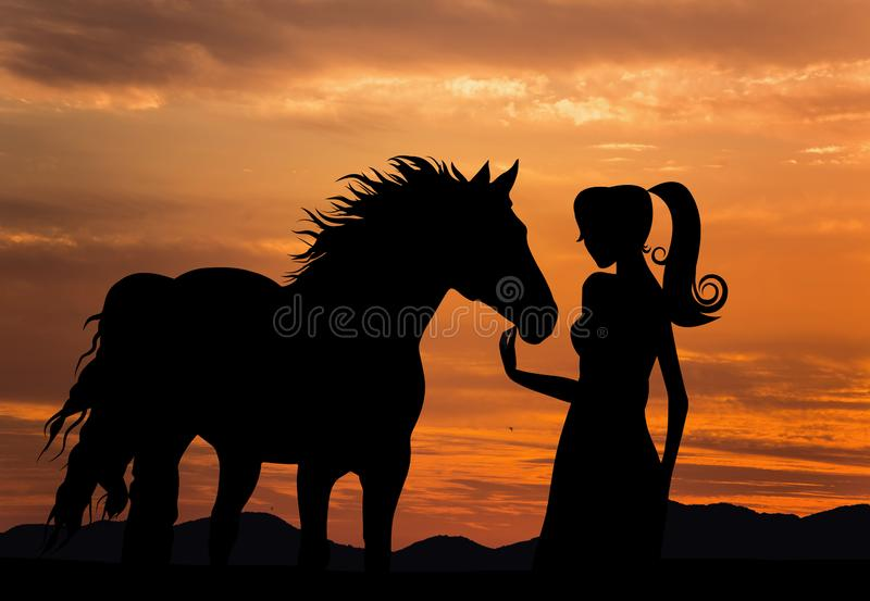 Schattenbild des Mädchens mit Pferdesonnenunterganghimmel stockfotos