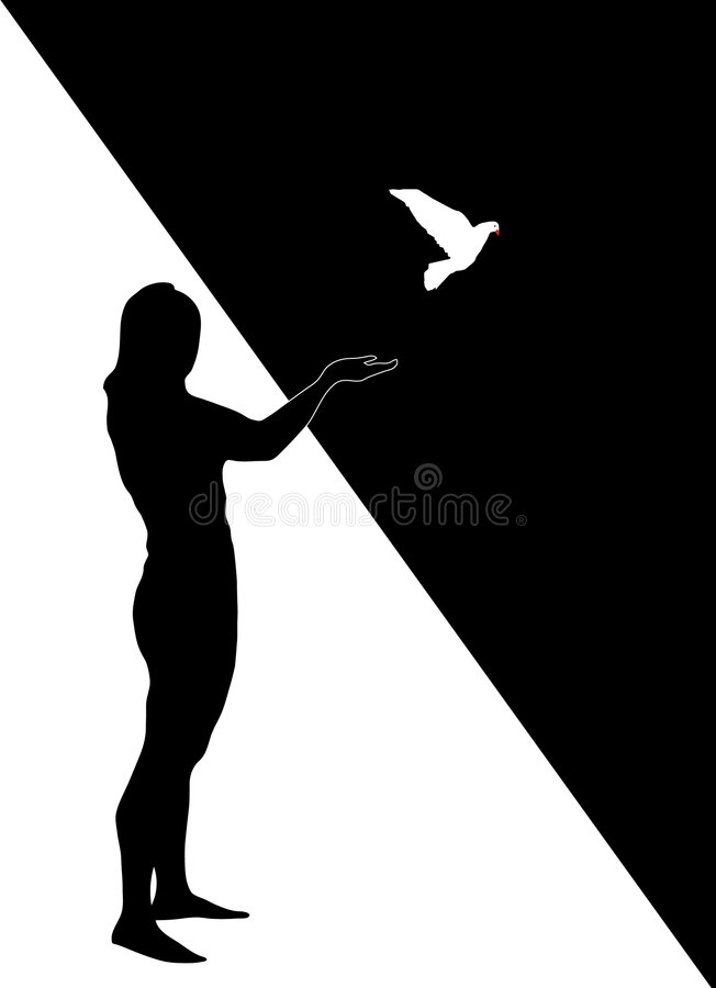 Schattenbild des Mädchens mit Taube stockbild