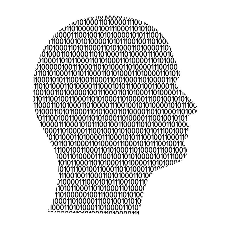 Schattenbild des männlichen Kopfes auf dem Seitencybersinneszusammenfassung schemati vektor abbildung