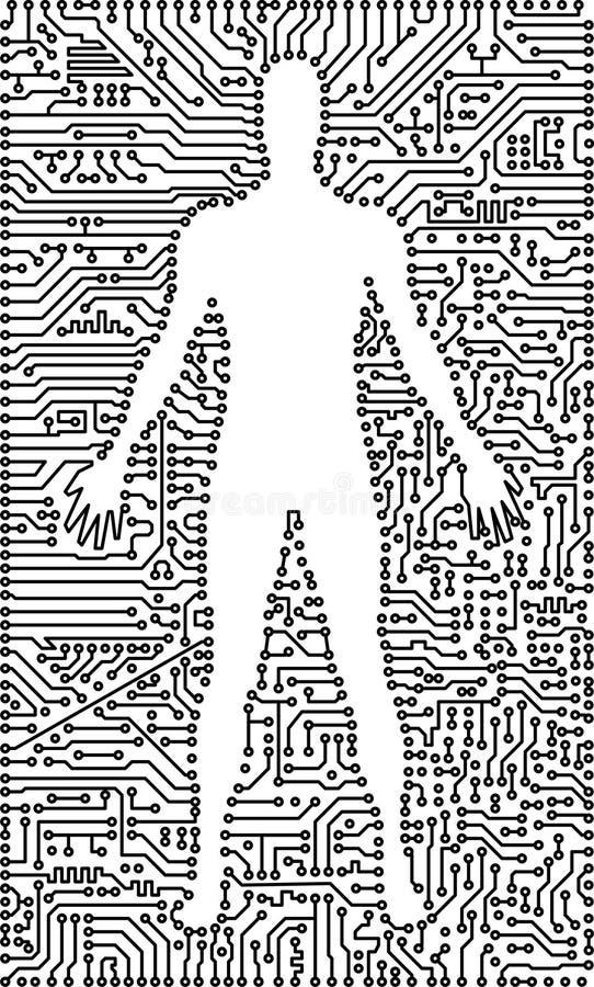 Schattenbild des Mannes in einem elektronischen Technologiehintergrund vektor abbildung