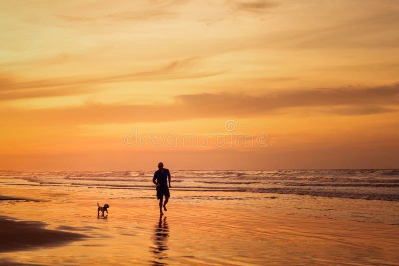 Schattenbild des Mannes laufend mit Hund im Strand in der Sonnenuntergangzeit lizenzfreies stockfoto