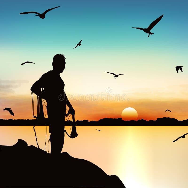 Schattenbild des Mannes wartend, um die Fische in der Dämmerung zu fangen vektor abbildung