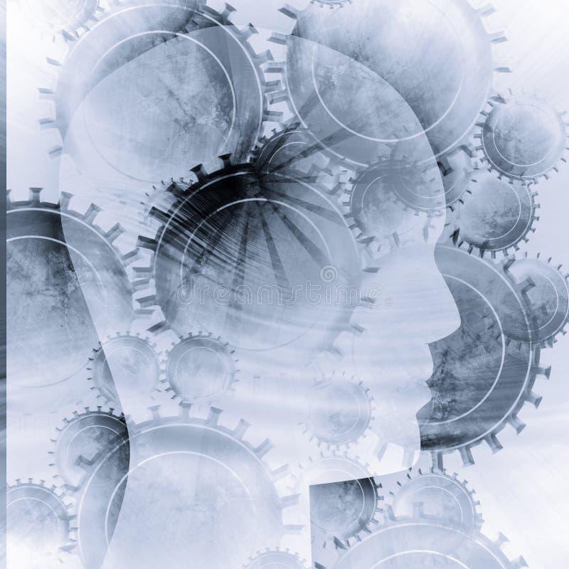 Schattenbild des menschlichen Kopfes stock abbildung