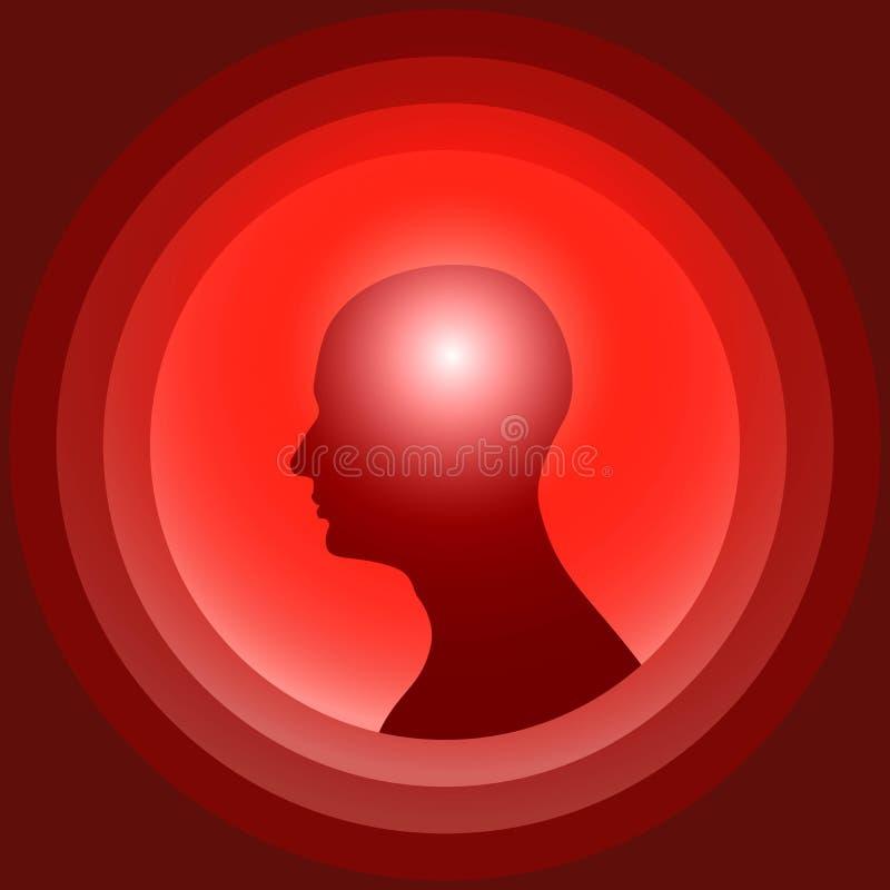 Schattenbild des menschlichen Kopfes mit glühendem Gehirn lizenzfreie abbildung
