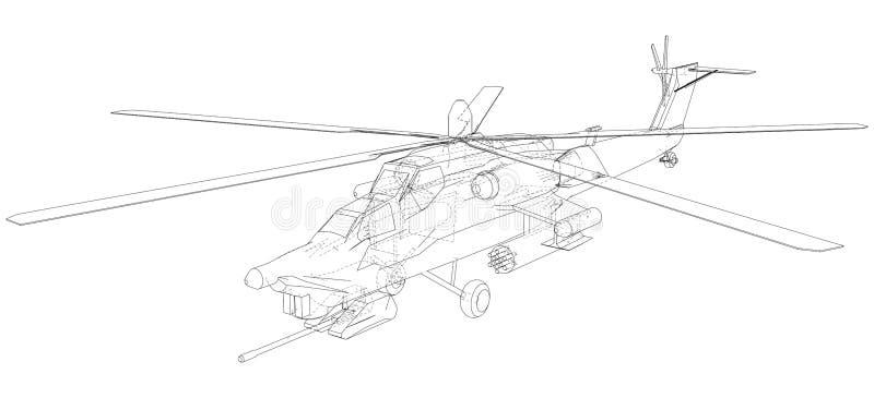 Schattenbild des Militärhubschraubers Geschaffene Illustration von 3d Vektordrahtrahmenkonzept vektor abbildung