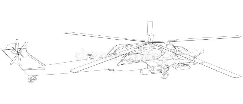 Schattenbild des Militärhubschraubers Geschaffene Illustration von 3d Vektordrahtrahmenkonzept stock abbildung