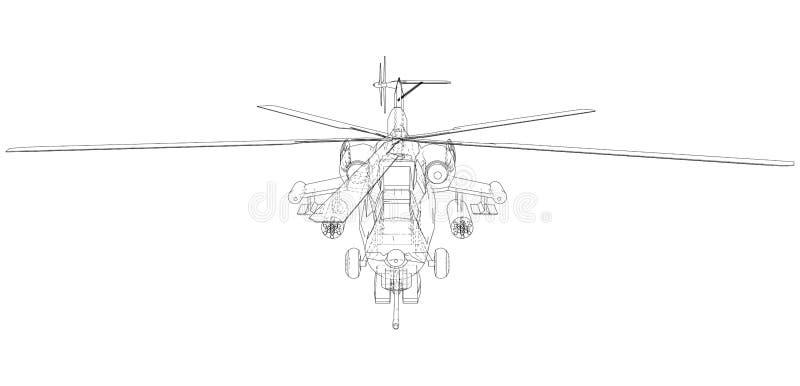Schattenbild des Militärhubschraubers Geschaffene Illustration von 3d Vektordrahtrahmenkonzept lizenzfreie abbildung