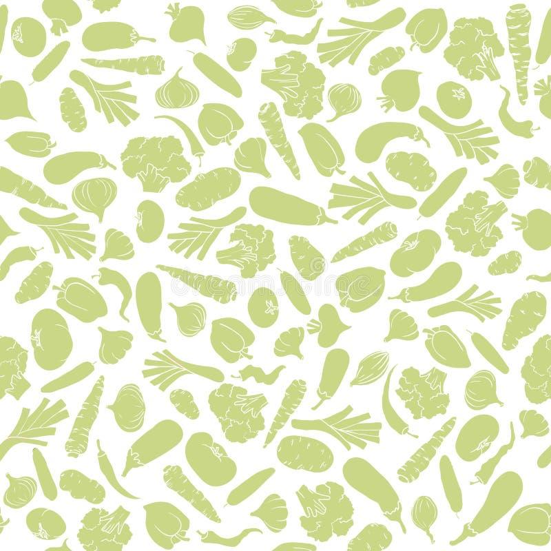 Schattenbild des nahtlosen Musters des Gemüses stock abbildung