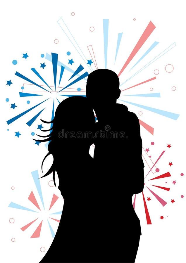 Schattenbild des Paares auf Feuerwerkhintergrund stock abbildung