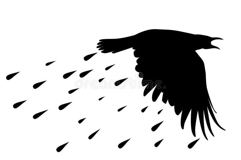 Schattenbild des Raben mit geregneten Tropfen stock abbildung
