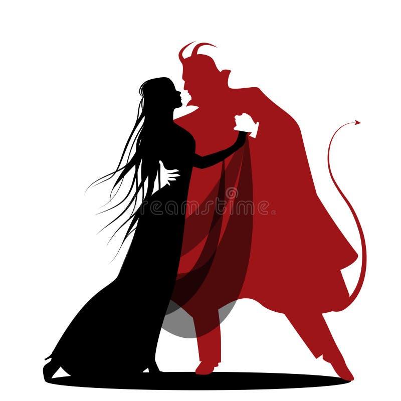 Schattenbild des romantischen Teufeltanzens mit einer Dame Halloween-Tanz vektor abbildung