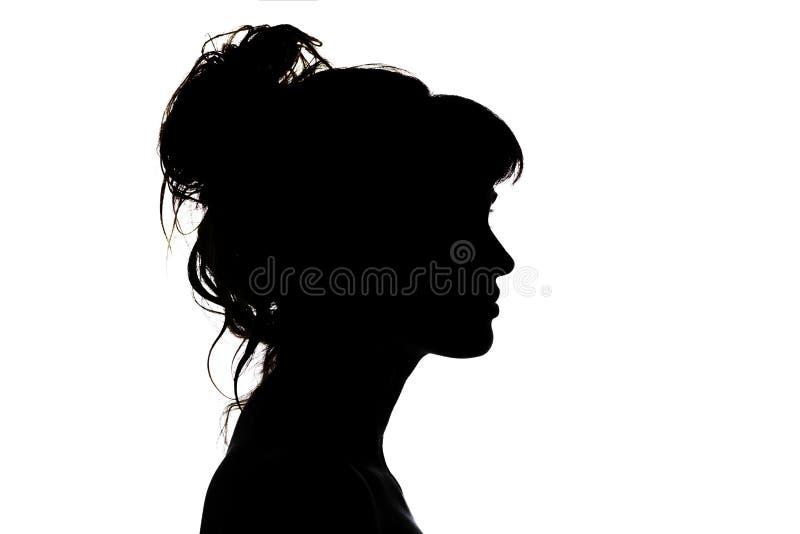 Schattenbild des schönen Profils der weiblicher Hauptkonzeptschönheit und -mode stockfotos