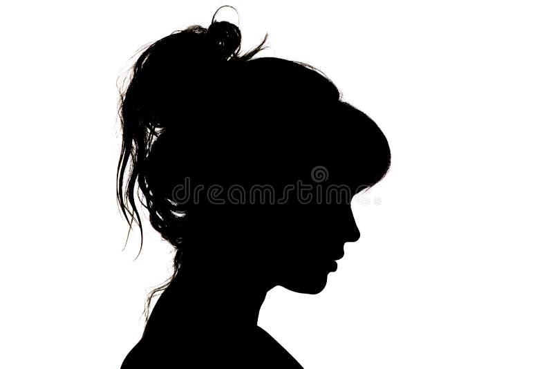 Schattenbild des schönen Profils der weiblicher Hauptkonzeptschönheit und -mode lizenzfreies stockbild