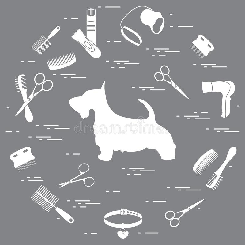 Schattenbild des schottischen Terriers, Kämme, Kragen, Leine, Rasiermesser, Haartrockenes vektor abbildung