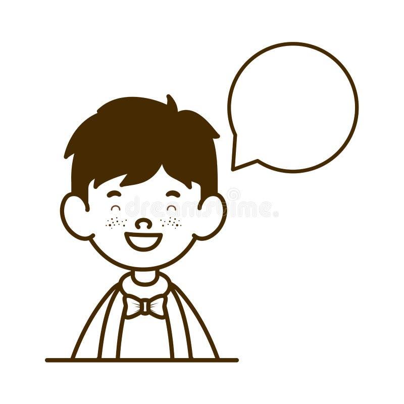 Schattenbild des Studentenjungen lächelnd mit Spracheblase stock abbildung