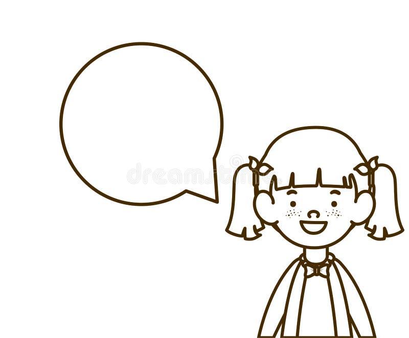 Schattenbild des Studentenmädchens lächelnd mit Spracheblase lizenzfreie abbildung