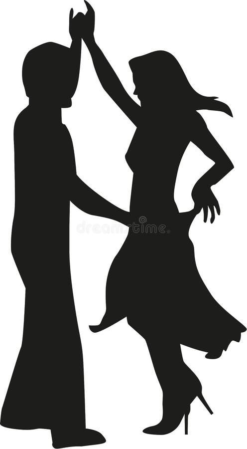 Schattenbild des Tanzens des glücklichen Paars lizenzfreie abbildung