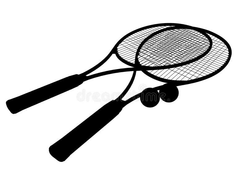 Schattenbild des Tennisschlägers lizenzfreie abbildung