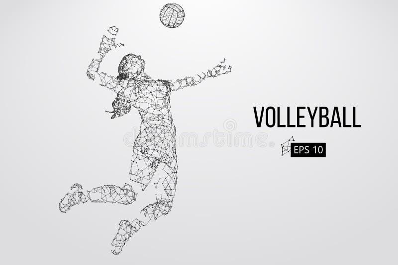 Schattenbild des Volleyballspielers Auch im corel abgehobenen Betrag