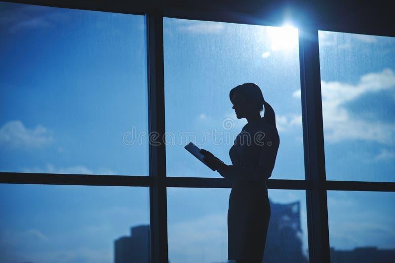 Schattenbild des weiblichen Angestellten stockfotos