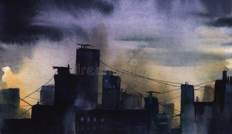 Schattenbild dunkle Stadt Hand gezeichneter wirklicher Watercolour Skizze stock abbildung