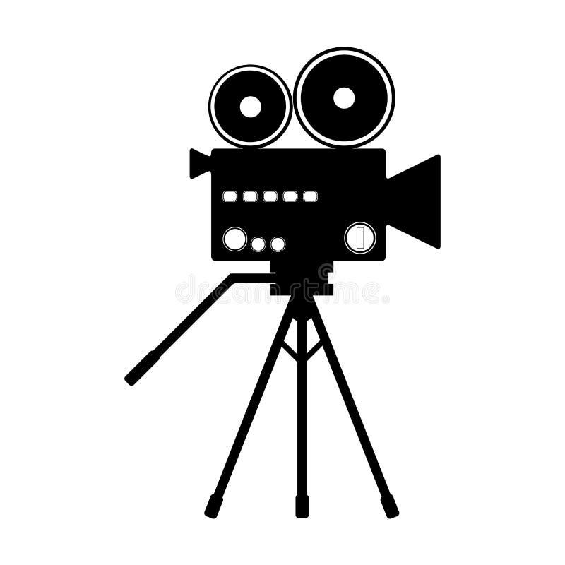 Schattenbild einer alten Filmkamera auf einem Stativ Ikone, Schattenbild, Zeichen Auch im corel abgehobenen Betrag vektor abbildung
