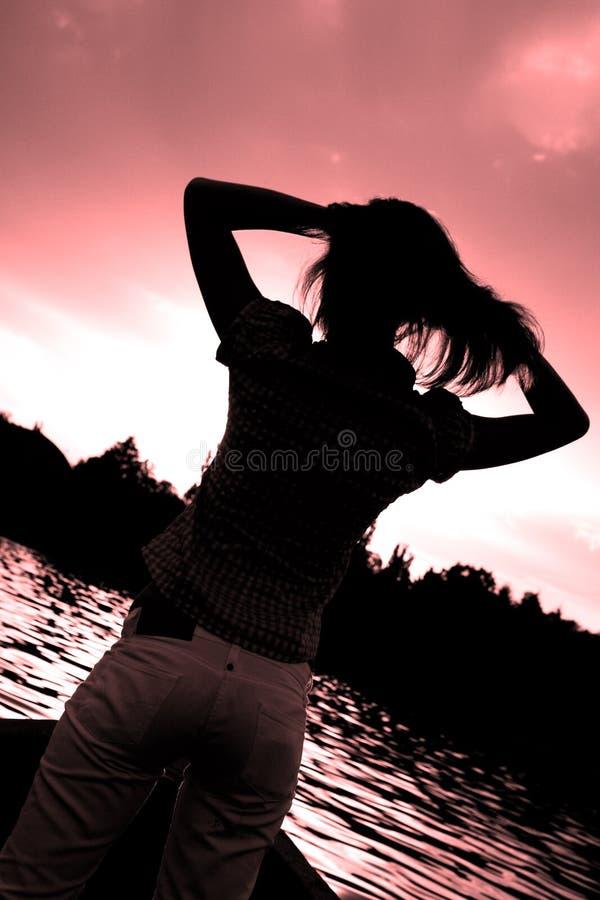 Schattenbild einer Dame stockbilder