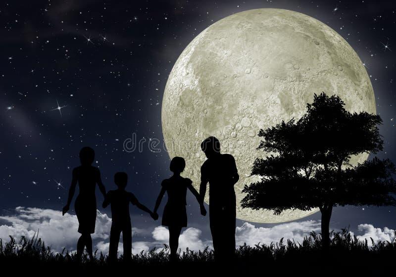 Schattenbild einer Familie lizenzfreie abbildung