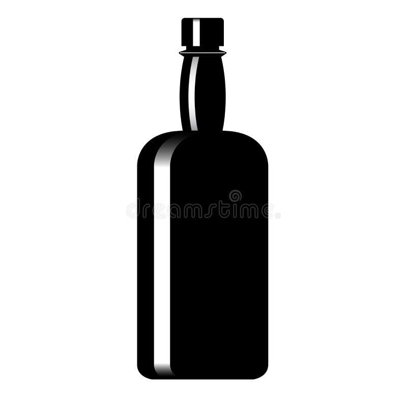 Schattenbild einer Flasche mit einem alkoholischen Getränk vektor abbildung