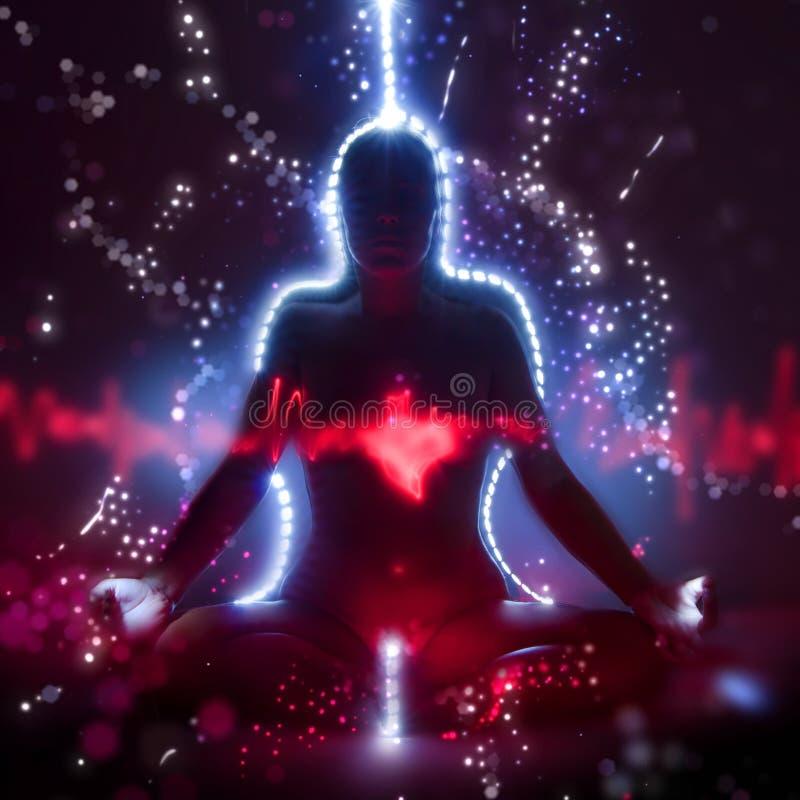 Schattenbild einer Frau in Lotosmeditationsposition mit dem glänzenden Herzen, das kundalini Yoga tut stock abbildung