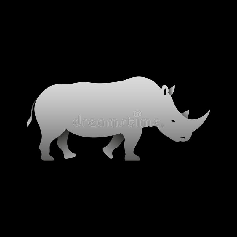 Schattenbild einer grauen Nashornstellung lizenzfreie abbildung