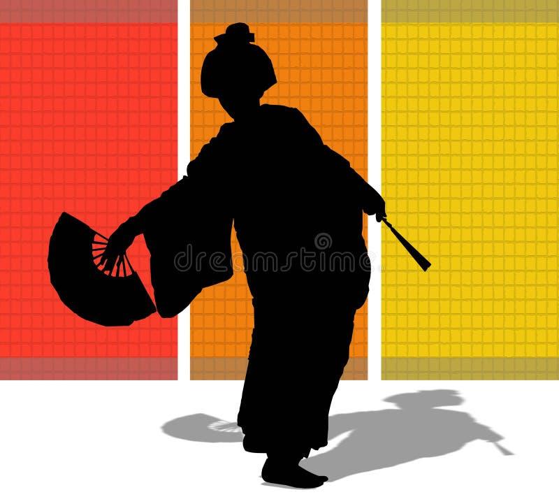 Schattenbild einer japanischen Frau vektor abbildung
