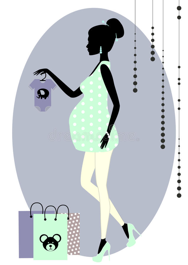 Schattenbild einer modernen schwangeren Frau stock abbildung